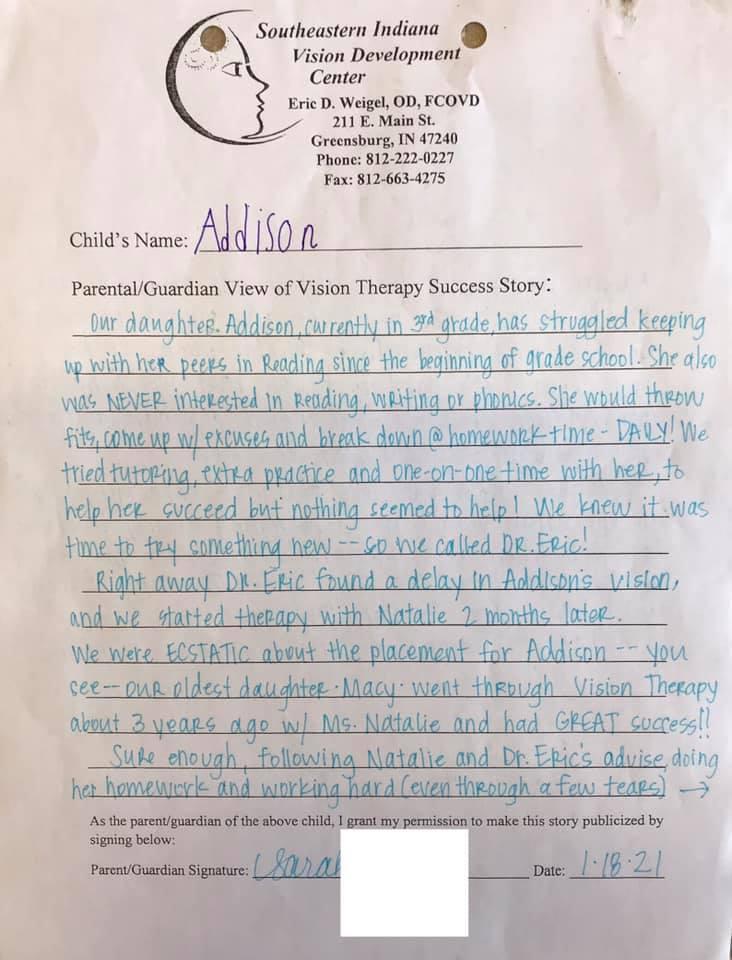 Success Story: Addison parent page 1
